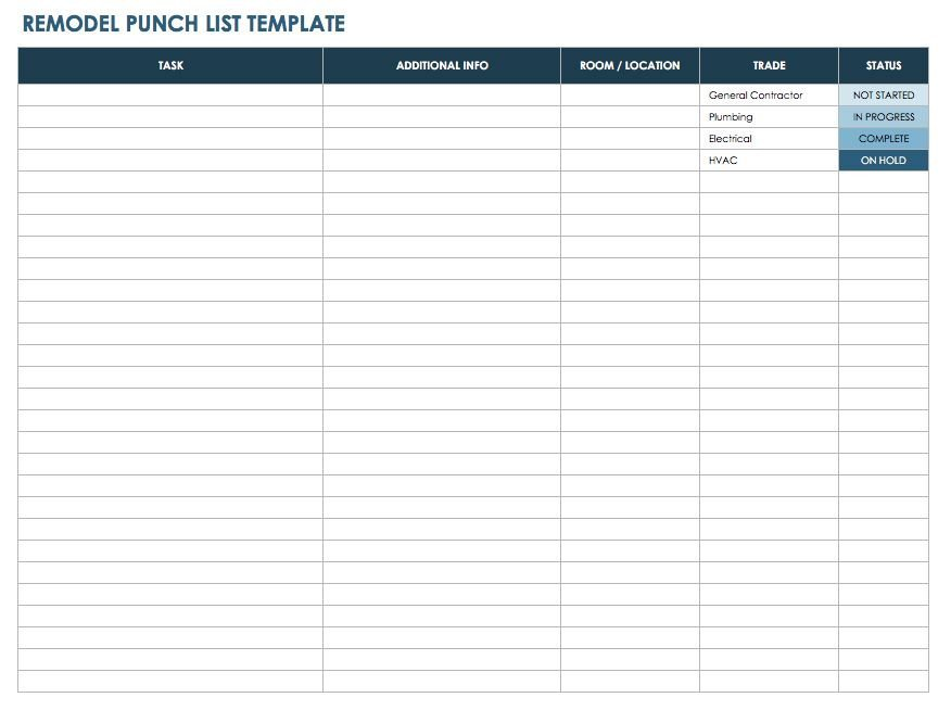 Apartment Punch List Template Free Punch List Templates