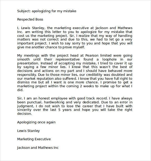 Apology Letter to Boss 9 Apology Letters for Mistake Pdf Word