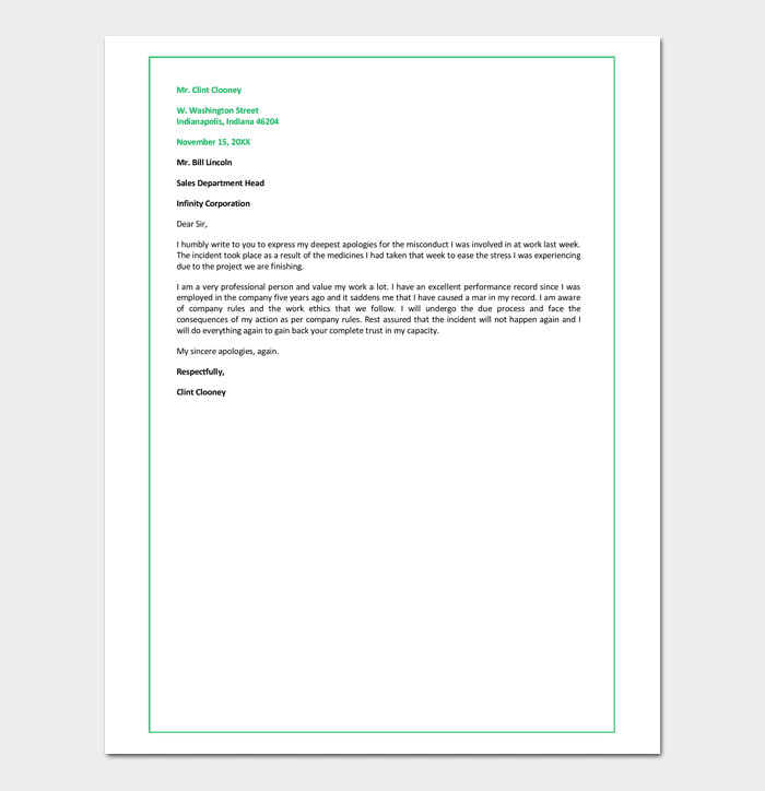 Apology Letter to Boss Apology Letter for Bad Rude or Unprofessional Behavior