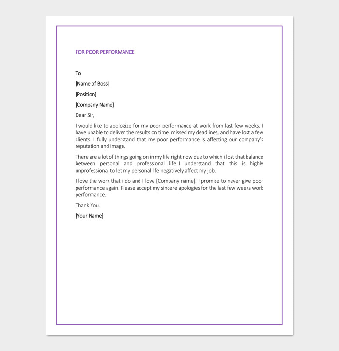 Apology Letter to Boss Apology Letter to Boss 7 Samples & Blank formats
