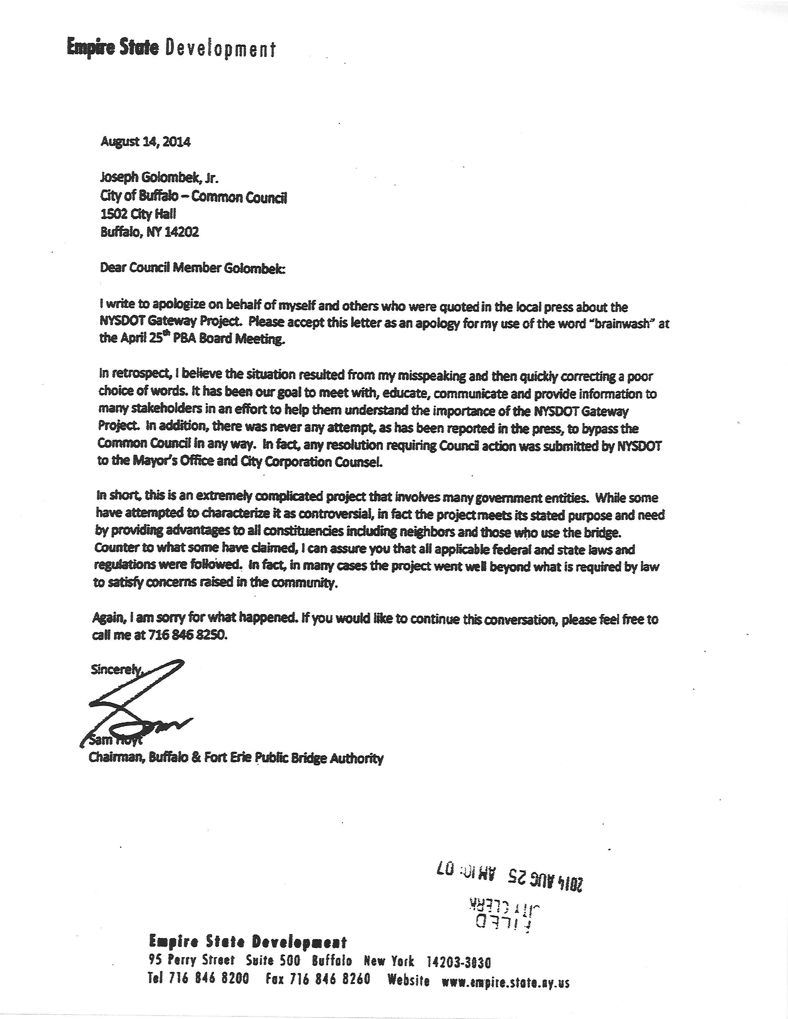 "Apology Letter to Boss Sam Hoyt's Apology for His ""brainwash"" Ment Raises"