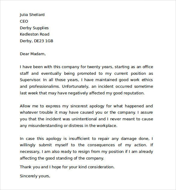 Apology Letter to Boss Sample Work Apology Letter 10 Free Documents Download