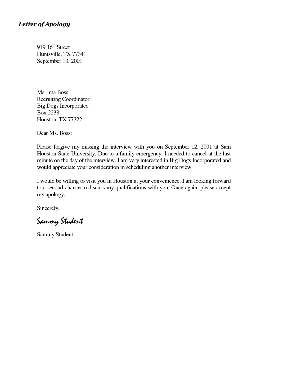 Apology Letter to Boss Simple formal Letter Of Apology to Boss with 2 Paragraph