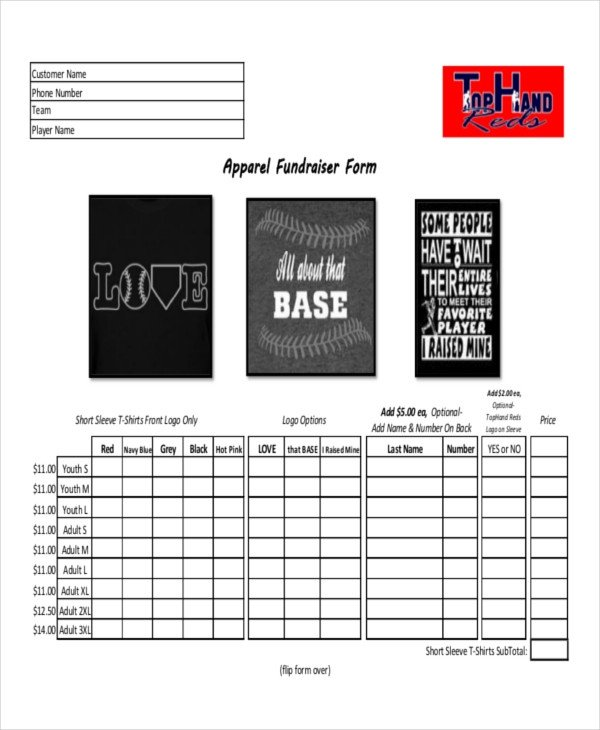 Apparel order form Template 12 Apparel order forms Free Sample Example format