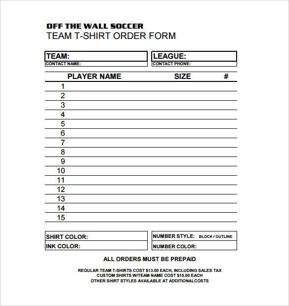 Apparel order form Template 26 T Shirt order form Templates Pdf Doc
