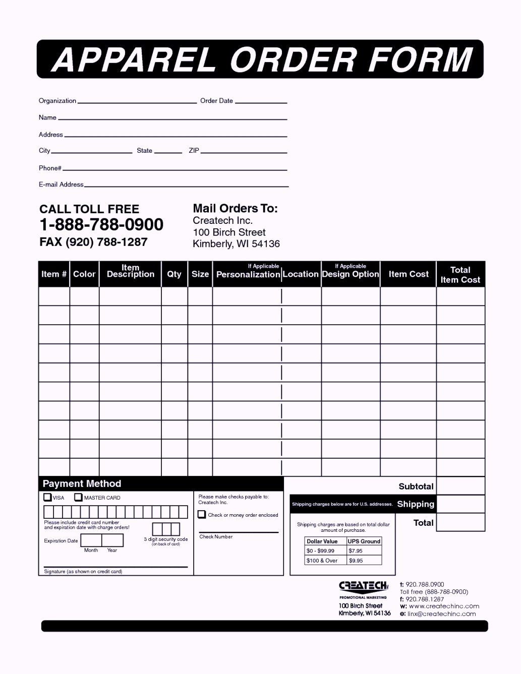 Apparel order form Template Clothing order form Templates Template Update234