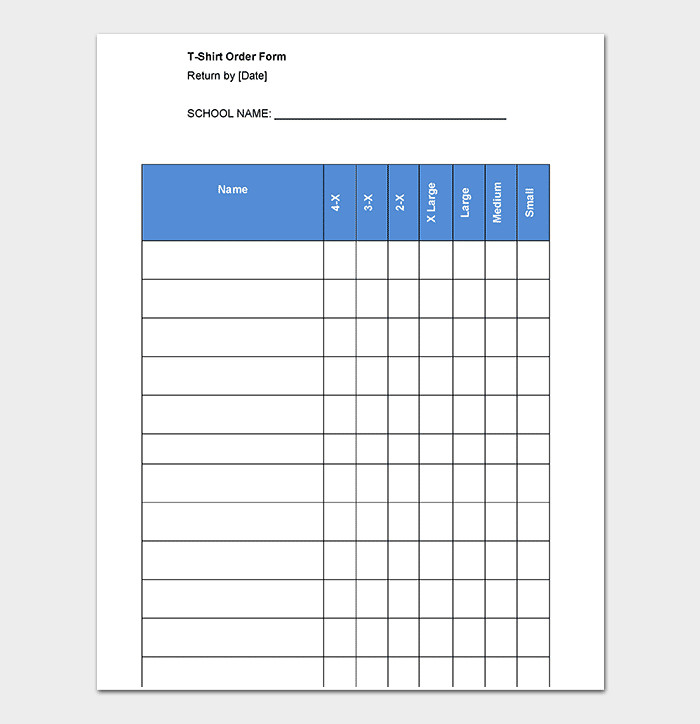 Apparel order form Template T Shirt order form Template 17 Word Excel Pdf