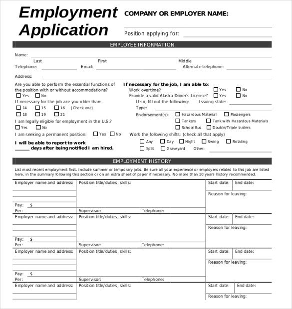 Application for Employment Templates 15 Employment Application Templates – Free Sample