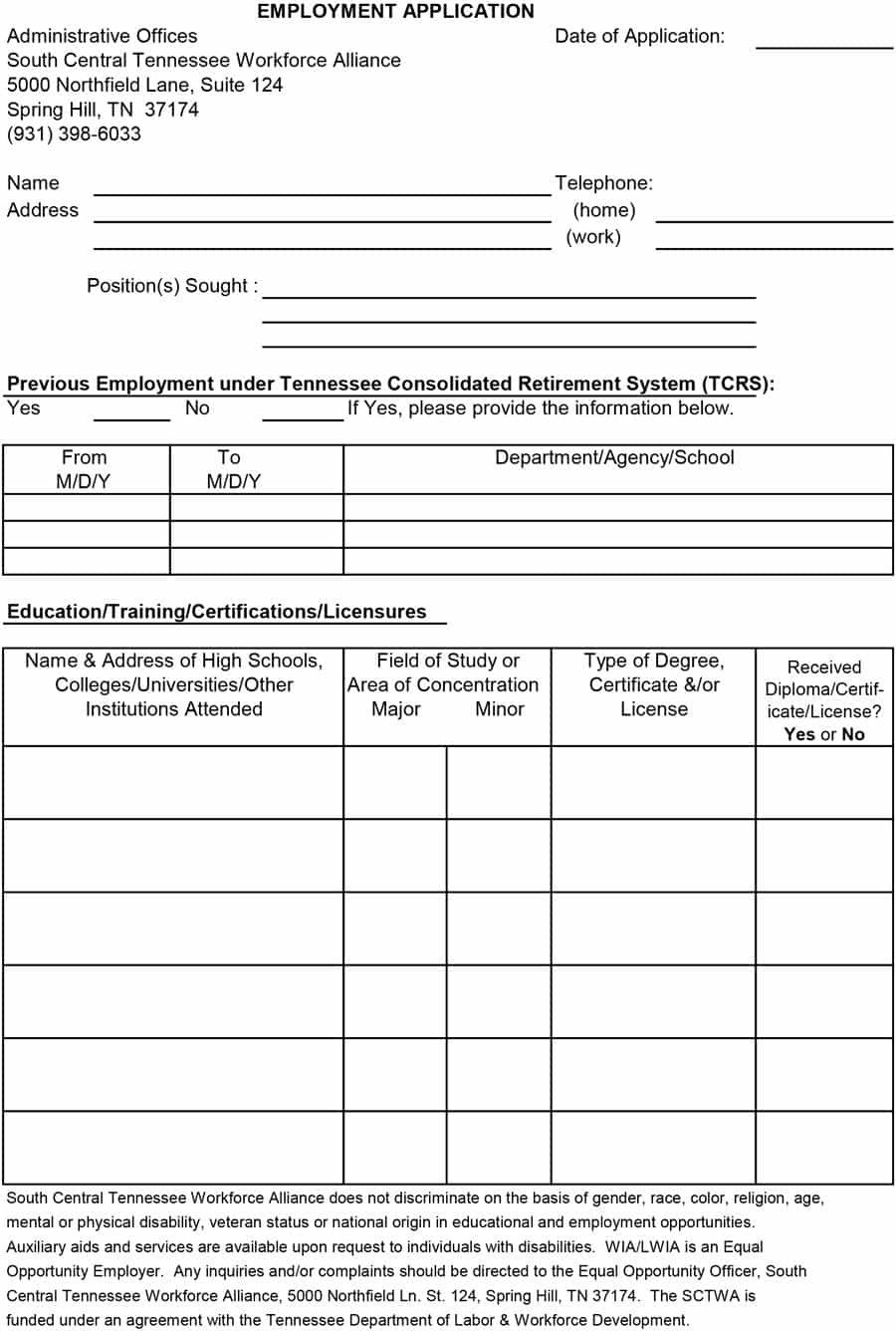 Application for Employment Templates 50 Free Employment Job Application form Templates