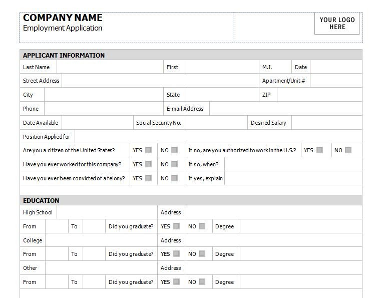 Application for Employment Templates Application for Employment Template