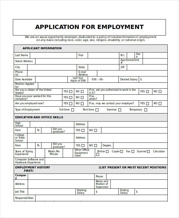 Application for Employment Templates Generic Job Application 8 Free Word Pdf Documents