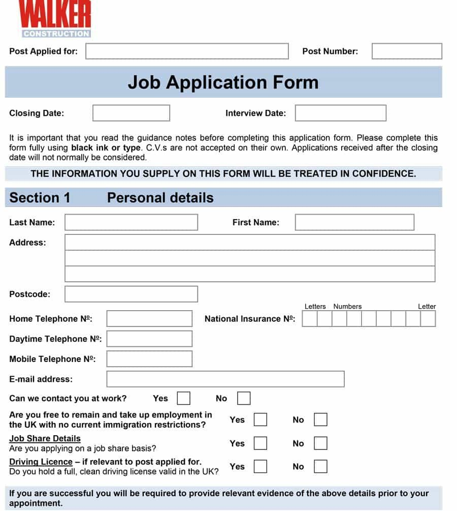 Applications for Employment Templates 50 Free Employment Job Application form Templates