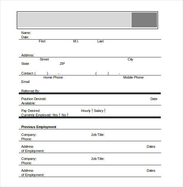 Applications for Employment Templates Application Template – 18 Free Word Excel Pdf Documents
