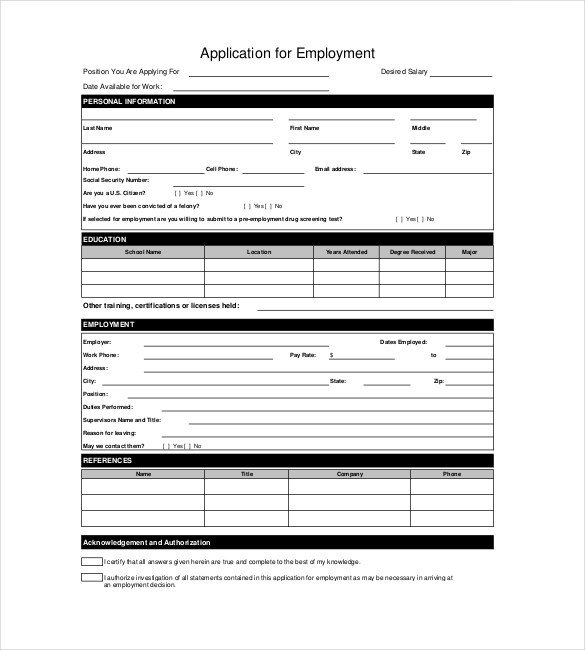 Applications for Employment Templates Application Templates – 20 Free Word Excel Pdf