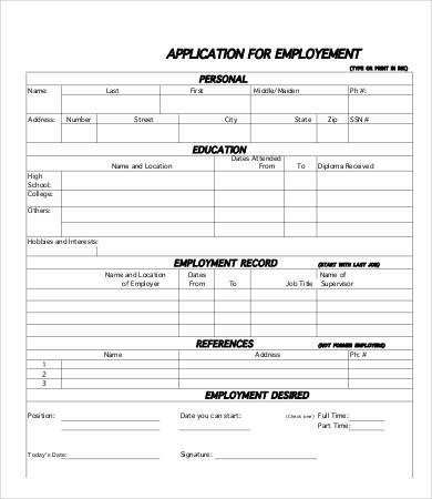 Applications for Employment Templates Printable Job Application Template 10 Free Word Pdf