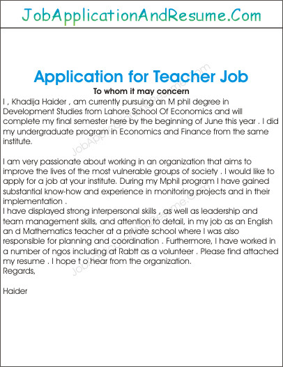 Applications for Teaching Jobs Application for Employment as A Teacher