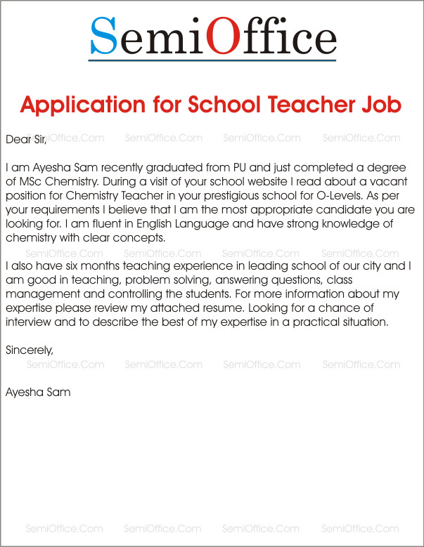 Applications for Teaching Jobs Application for School Teacher Job Free Samples