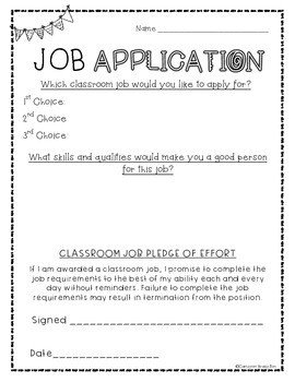 Applications for Teaching Jobs Classroom Job Application Freebie by Cameron Brazelton