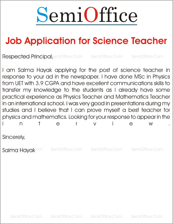 Applications for Teaching Jobs Job Application for School Teacher Job Samples