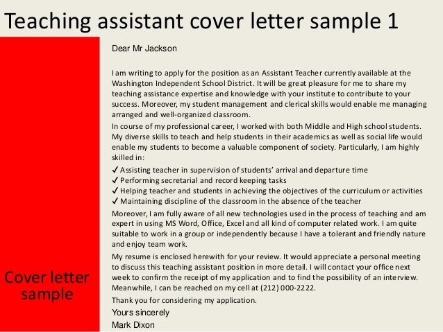 Applications for Teaching Jobs Teaching assistant Cover Letter