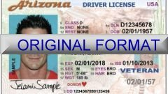 Arizona Id Template Driver License Usa All Usa States