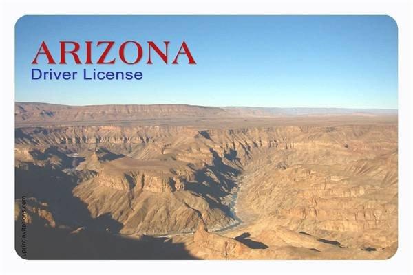 Arizona Id Template Driver S License Birthday Invitations All States