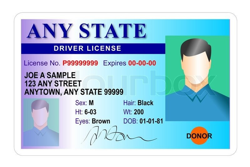 Arizona Id Template Generic Male State Driver License Stock