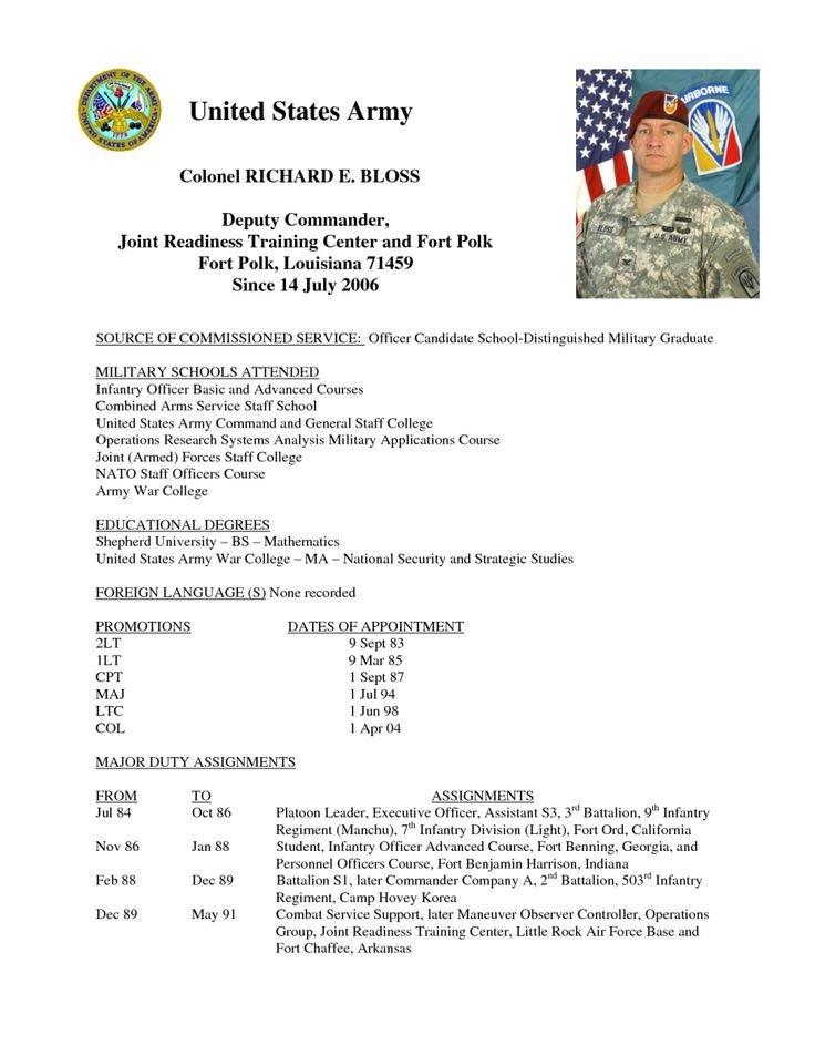 Army Board Bio Example 19 Of Short Army Bio Template Free