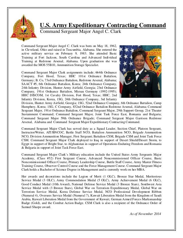 Army Board Bio Example Biography Csm Angel Clark Ecc Mand Sergeant Major