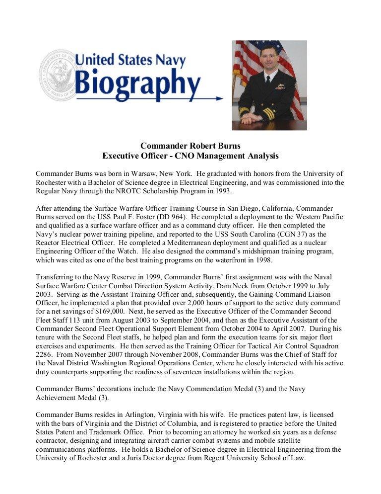 Army Board Bio Example Burns Military Bio