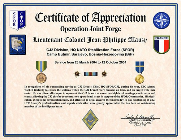 Army Certificate Of Appreciation 30 Certificate Of Appreciation Templates Word Pdf Psd