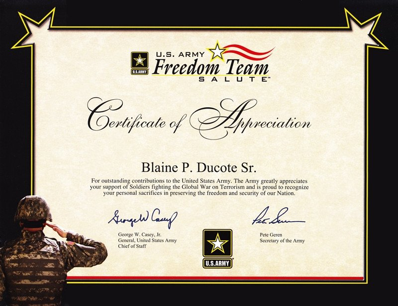 Army Certificate Of Appreciation 6 Army Appreciation Certificate Templates Pdf Docx