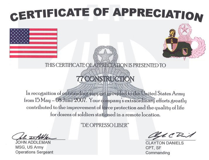 Army Certificate Of Appreciation 77 Construction Oil and Gas Division