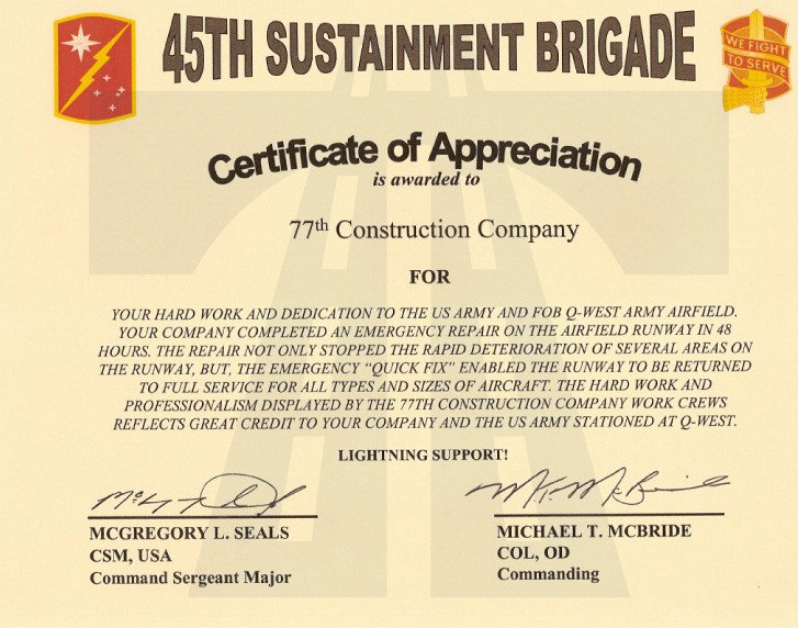 Army Certificate Of Appreciation 77 İnşaat