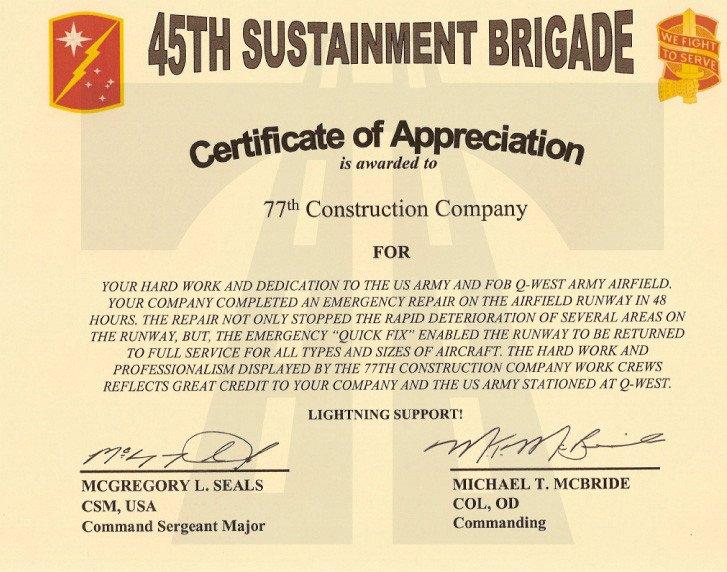 Army Certificate Of Appreciation 77 İnşaat