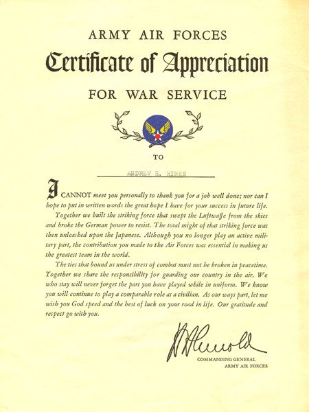 Army Certificate Of Appreciation Army Air forces Certificate Of Appreciation for War Service