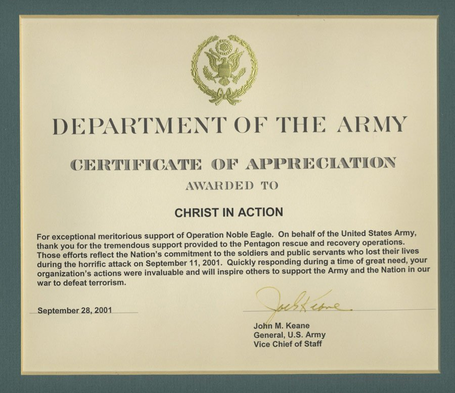 Army Certificate Of Appreciation Bringing Hope to America S Families Christ In Action