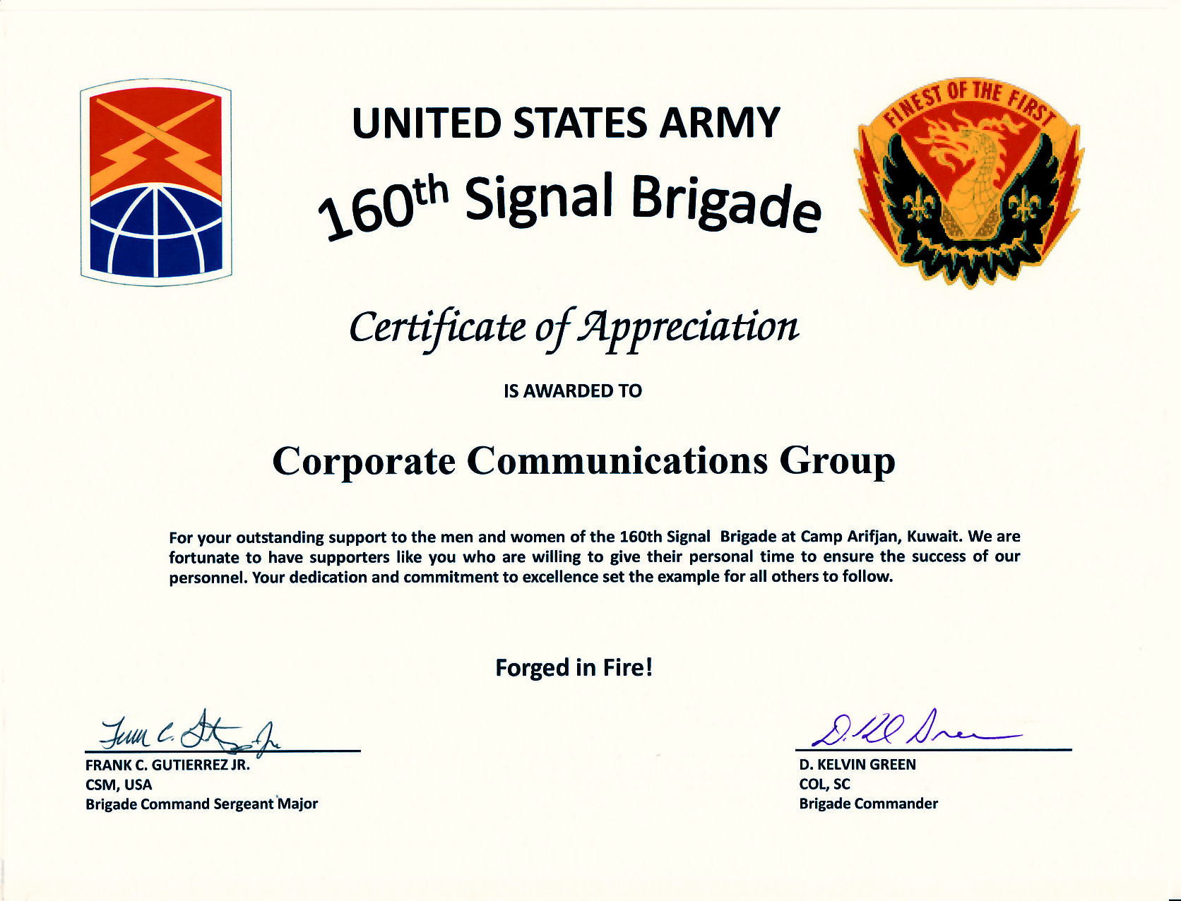 Army Certificate Of Appreciation Ccg Receives Certificate Of Appreciation From U S Army