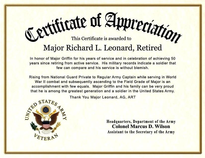 Army Certificate Of Appreciation Certificate Appreciation Wording Army