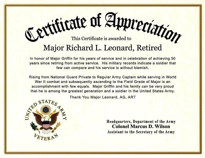 Army Certificate Of Appreciation Certificate Appreciation Wording Army