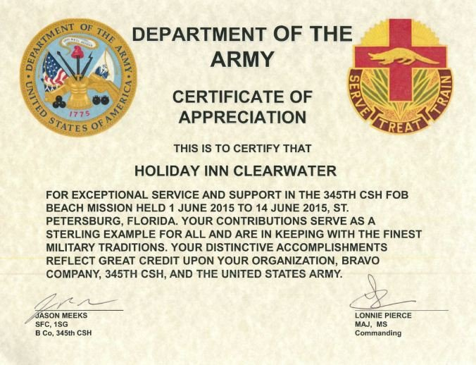 Army Certificate Of Appreciation Clearwater Hotel Mended by the Department Of the Army