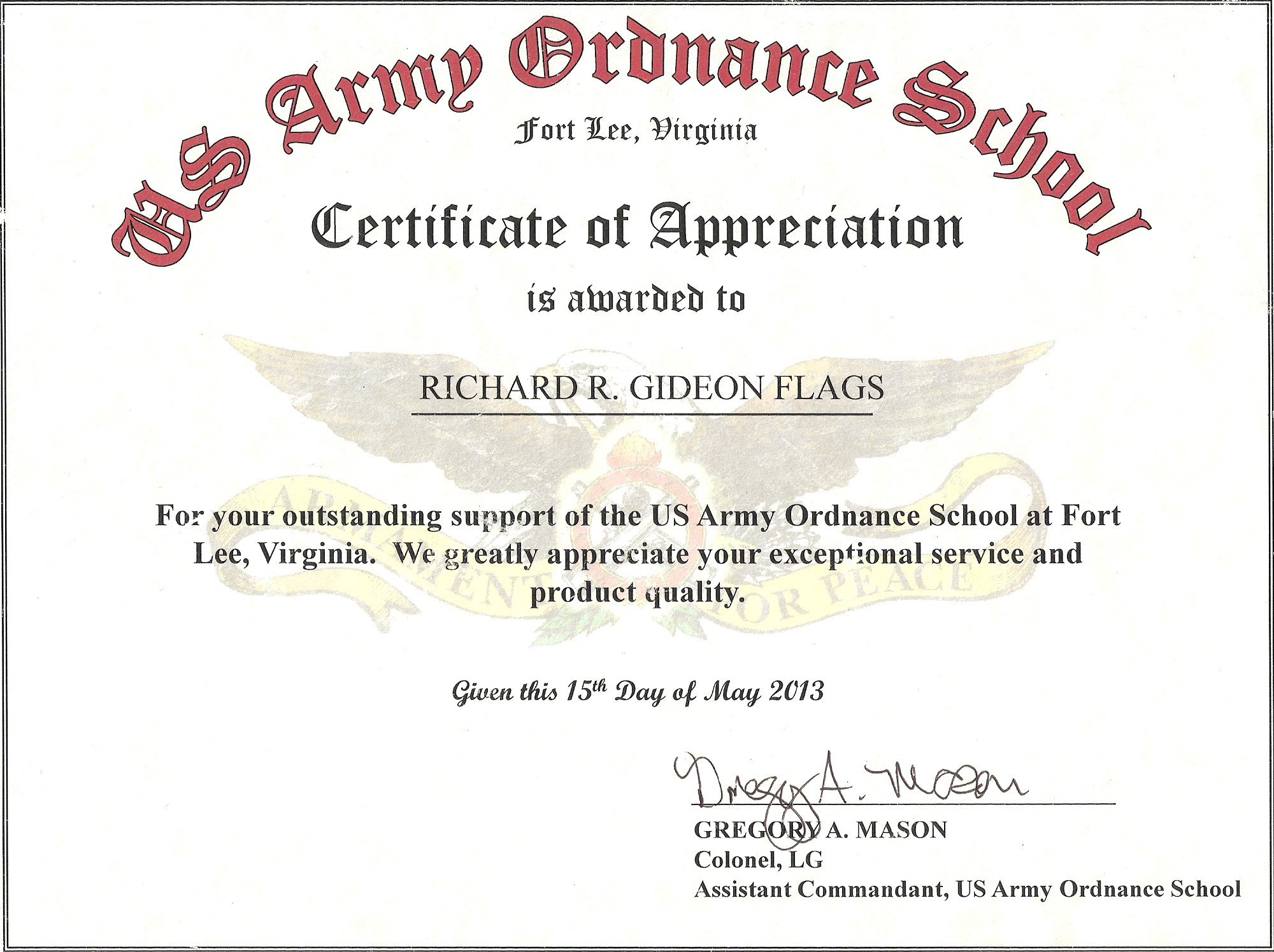 Army Certificate Of Appreciation Military Guidon Campaign Battle and Custom Streamers