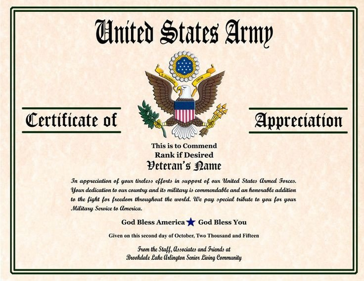 Army Certificate Of Appreciation Military Veterans Appreciation Certificates
