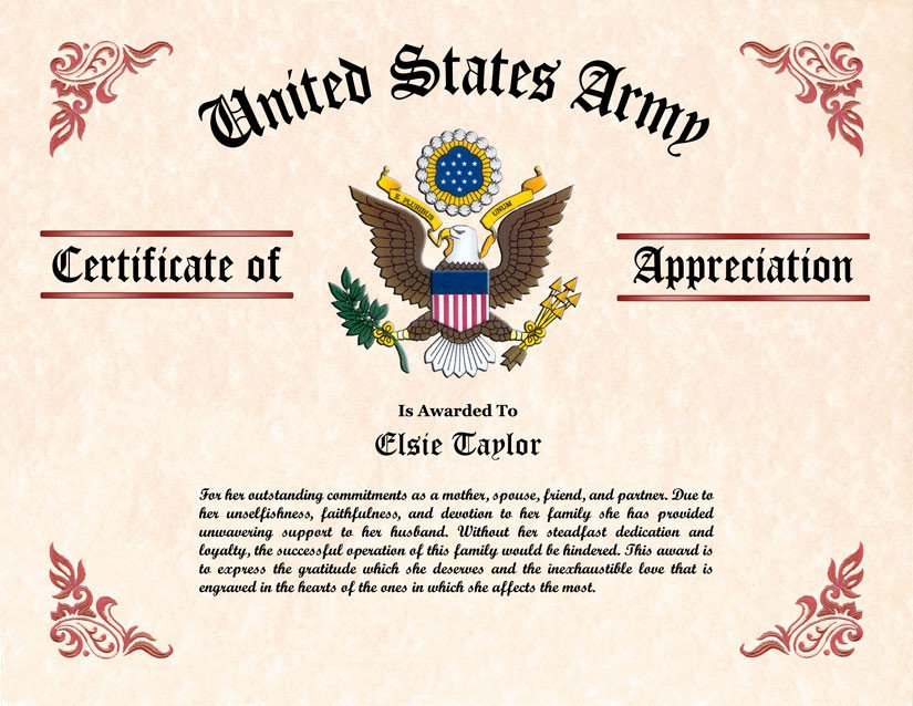 Army Certificate Of Appreciation Military Wife and Family Certificate Of Appreciation