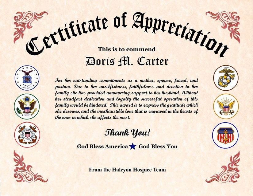 Army Certificate Of Appreciation Military Wife Appreciation Certificate