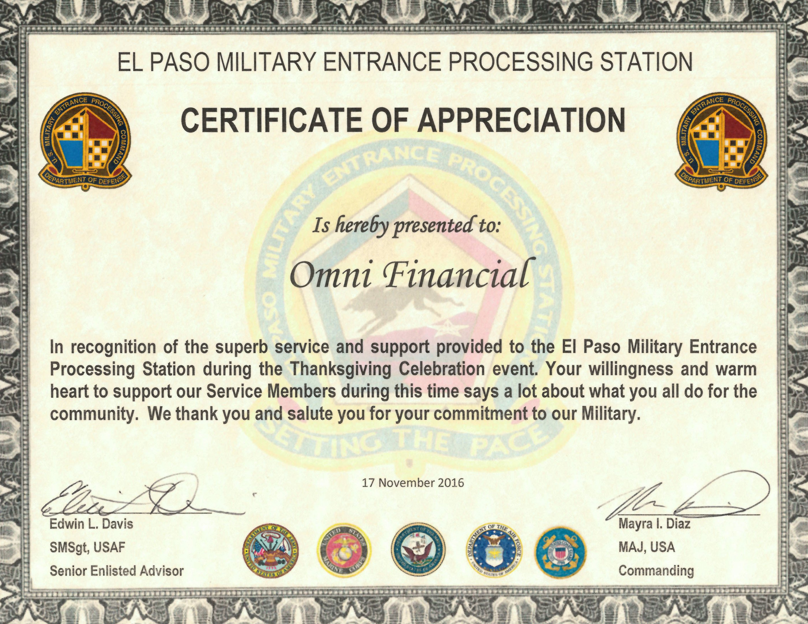 Army Certificate Of Appreciation Omni Military Loans In El Paso Tx