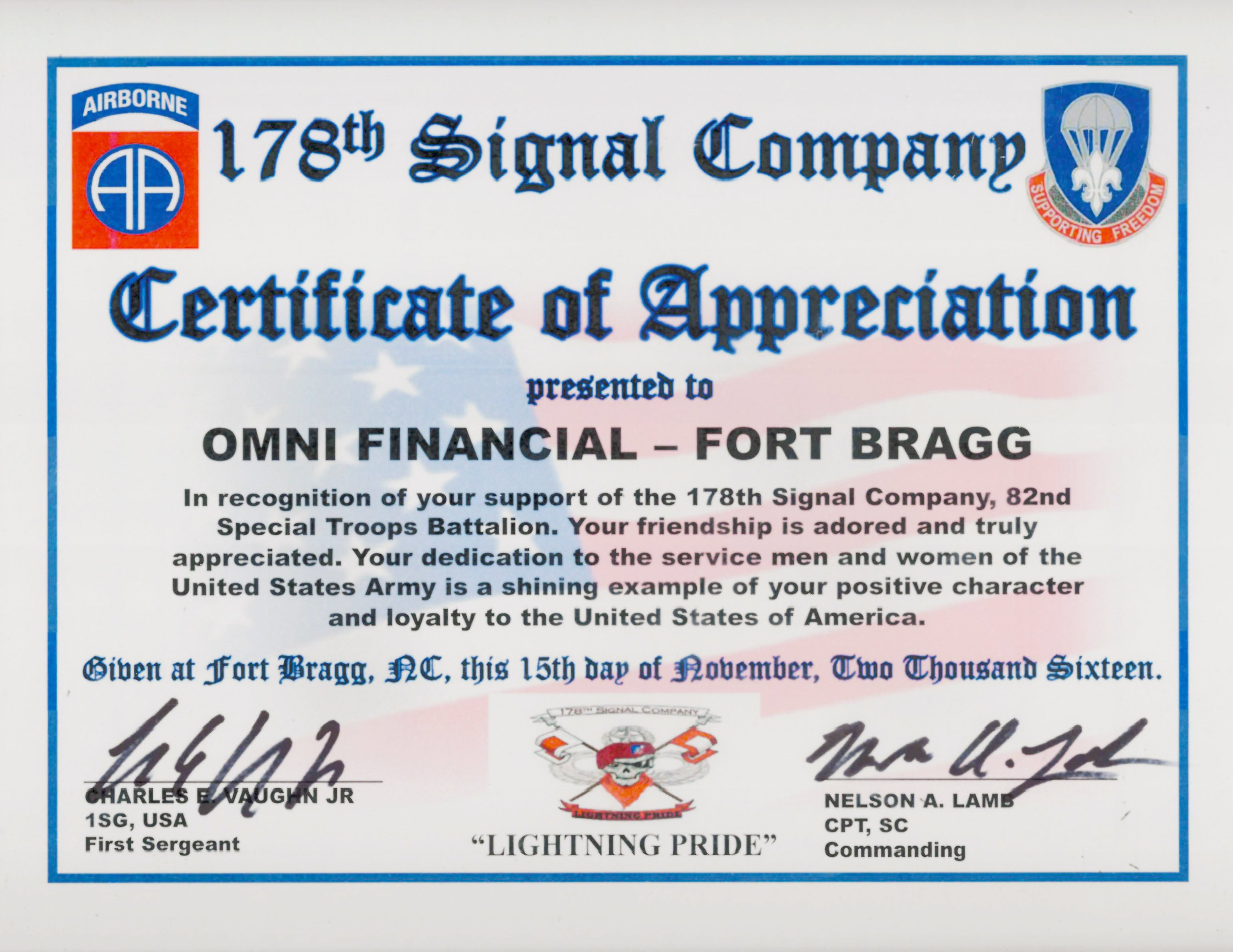 Army Certificate Of Appreciation Omni Military Loans In Fayetteville Nc