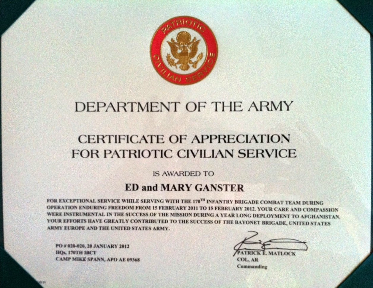 Army Certificate Of Appreciation Operation Safety 91 February 2012