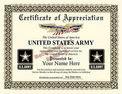 Army Certificate Of Appreciation Other Printing Services Printing & Personalization
