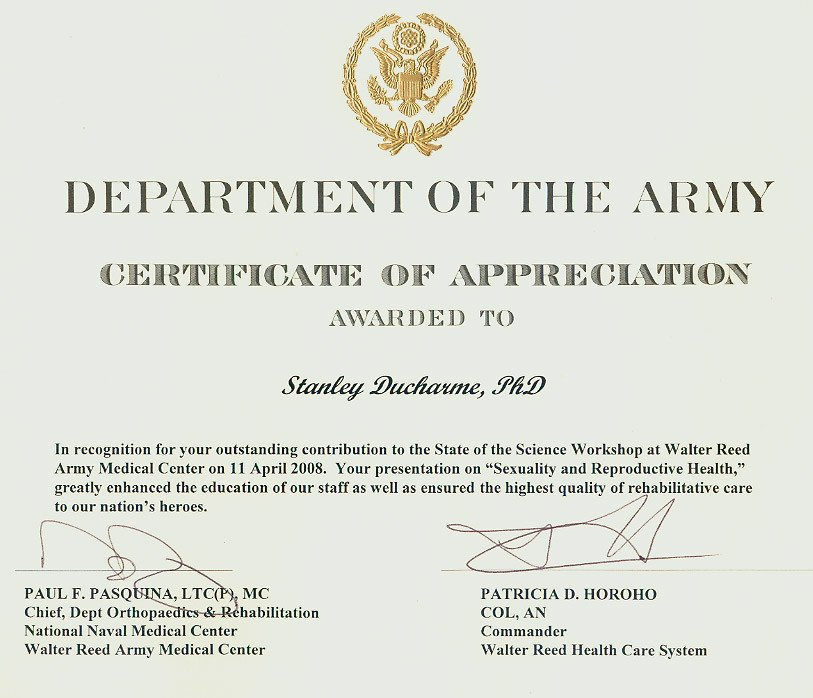 Army Certificate Of Appreciation therapy Rehabilitation & Disability and General